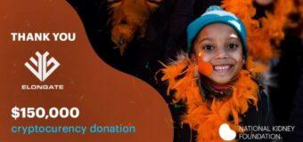Criptomoneda beneficencia más grande mundo anuncia donación National Kidney Foundation y próximos proyectos